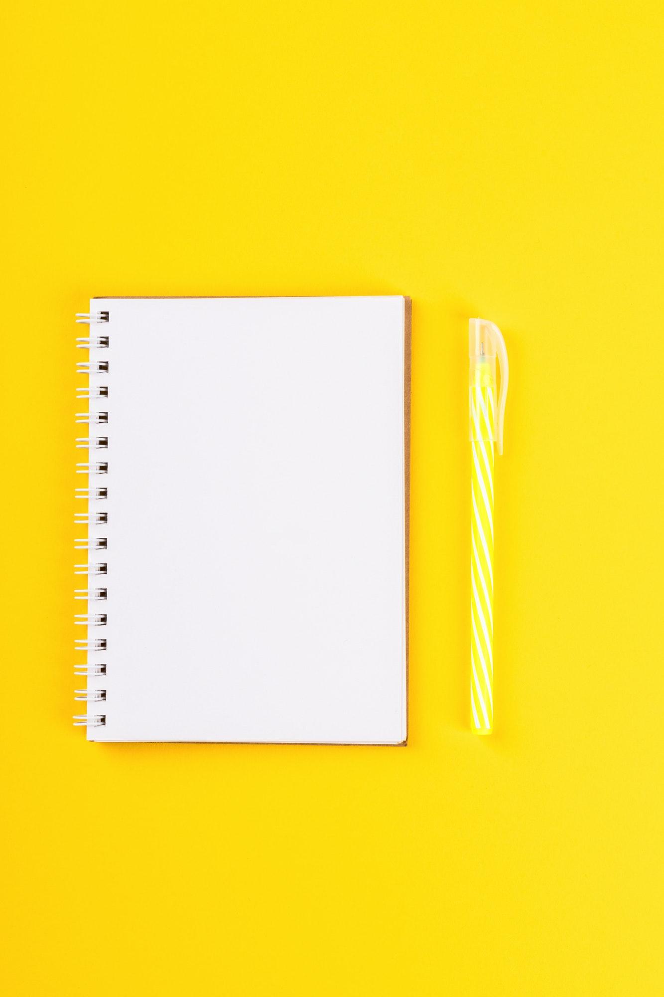 Notebook, pen Accessories office concept