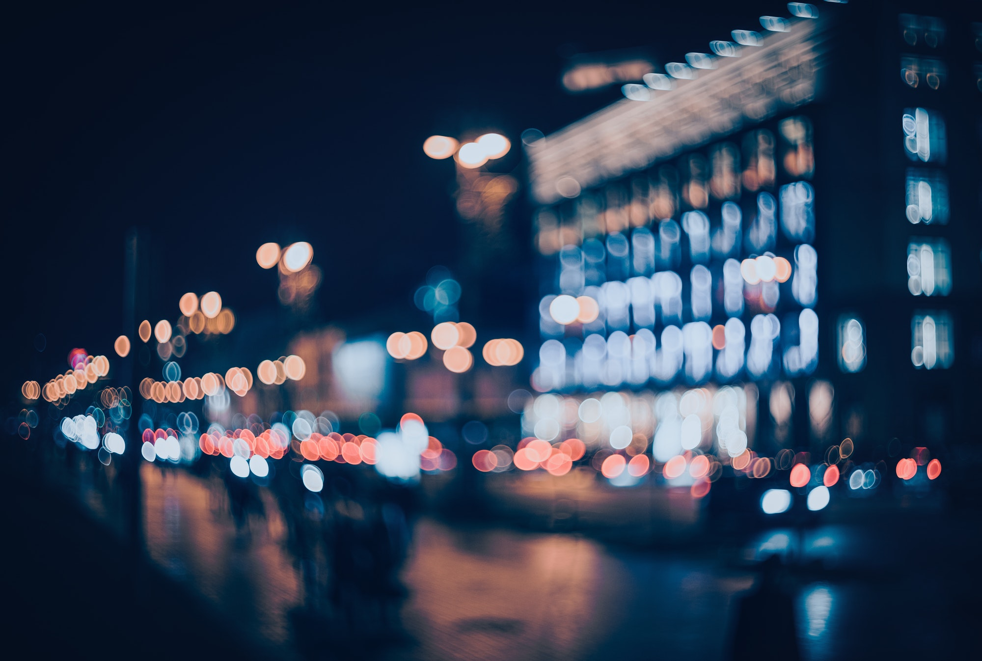 Blurred city at night. Bokeh
